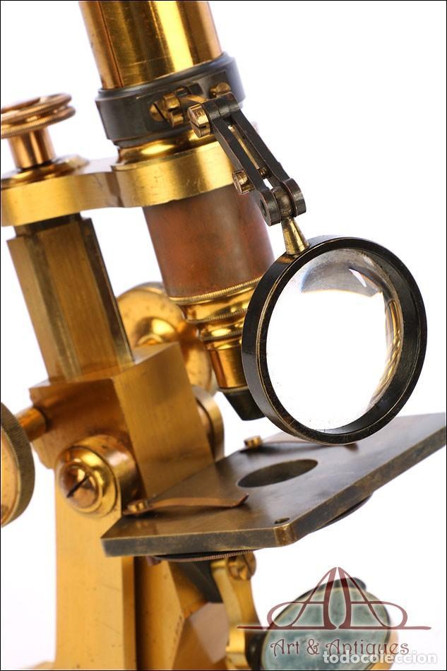 Antigüedades: Rarísimo Microscopio Inglés Antiguo de Latón Pillischer. Inglaterra, Circa 1890 - Foto 19 - 189728966