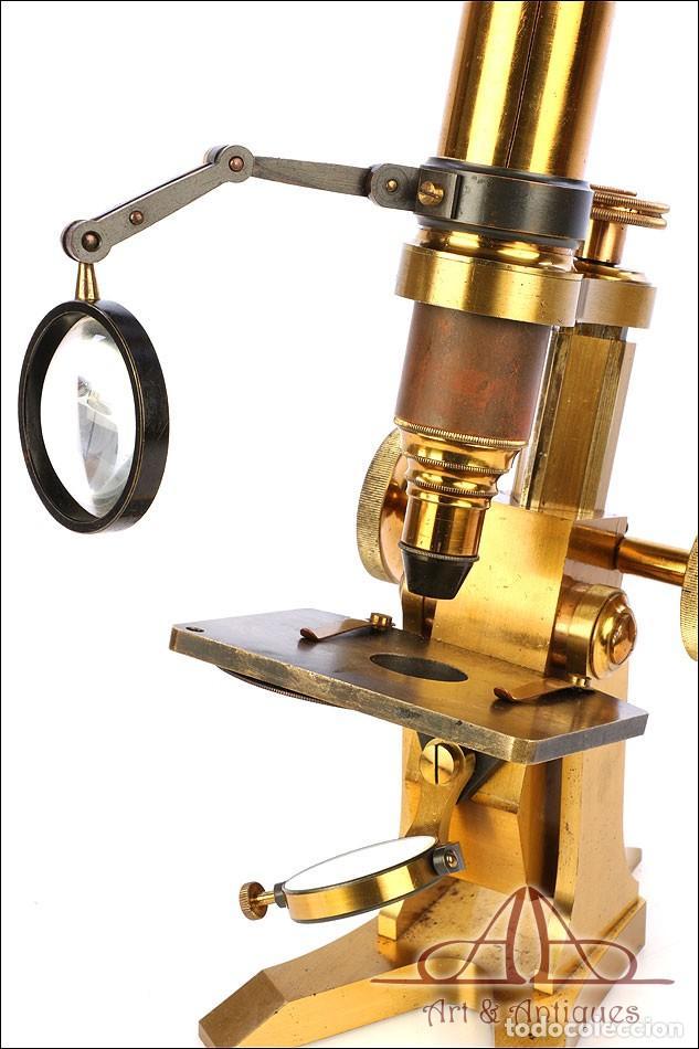 Antigüedades: Rarísimo Microscopio Inglés Antiguo de Latón Pillischer. Inglaterra, Circa 1890 - Foto 20 - 189728966