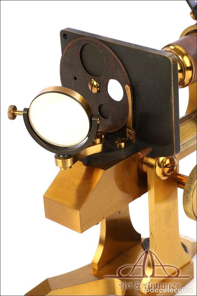 Antigüedades: Rarísimo Microscopio Inglés Antiguo de Latón Pillischer. Inglaterra, Circa 1890 - Foto 22 - 189728966