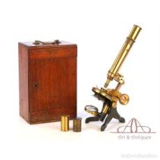 Antigüedades: ANTIGUO MICROSCOPIO COMPUESTO INGLÉS WALTER LAWLEY. INGLATERRA, CIRCA 1880. Lote 189729096