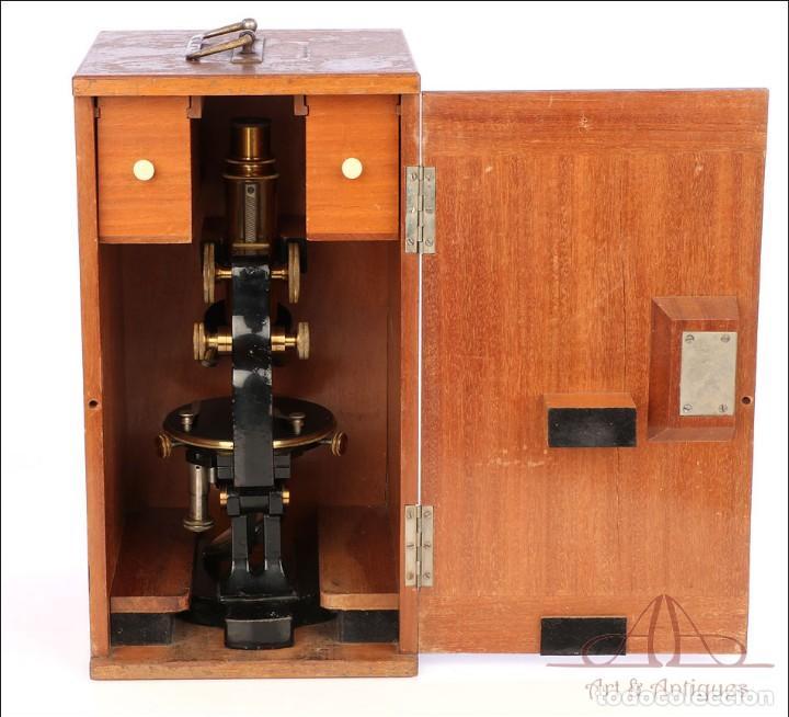 Antigüedades: Antiguo Microscopio Alemán Ed. Messter. Alemania, Circa 1910. - Foto 3 - 189730418