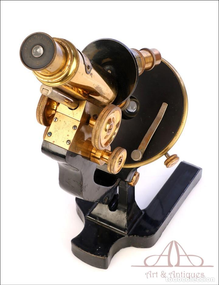 Antigüedades: Antiguo Microscopio Alemán Ed. Messter. Alemania, Circa 1910. - Foto 15 - 189730418