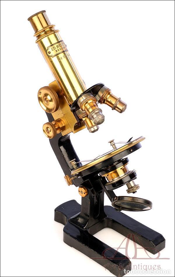 Antigüedades: Antiguo Microscopio Alemán Ed. Messter. Alemania, Circa 1910. - Foto 16 - 189730418