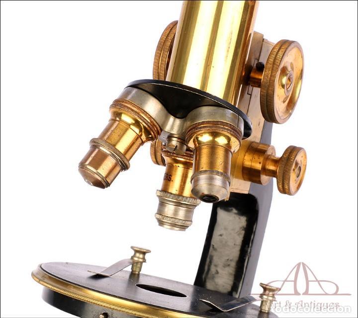Antigüedades: Antiguo Microscopio Alemán Ed. Messter. Alemania, Circa 1910. - Foto 18 - 189730418
