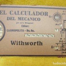 Antigüedades: RARA CALCULADORA DEL MECÁNICO JULIO BRISGASLAKI. Lote 245132920