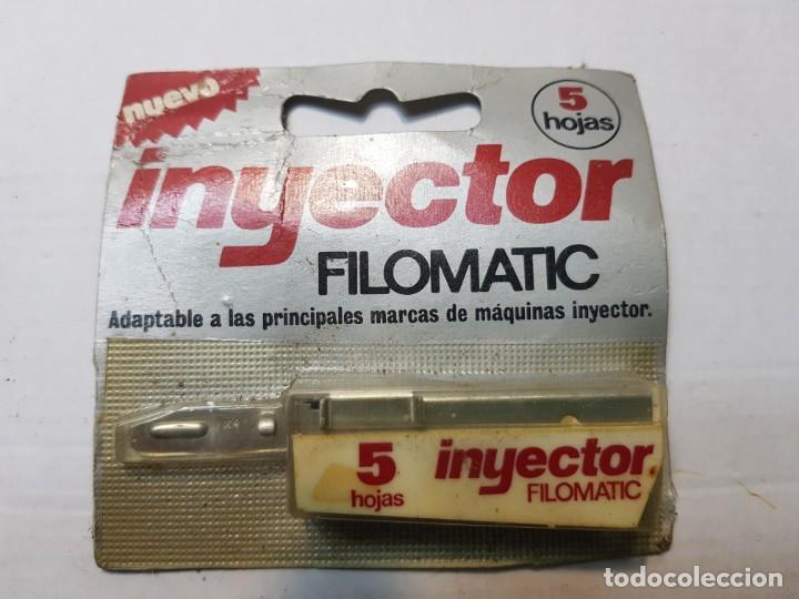 RECAMBIO DE CUCHILLAS AFEITAR INYECTOR DE FILOMATIC EN BLISTER ESCASO (Antigüedades - Técnicas - Barbería - Hojas de Afeitar Antiguas)