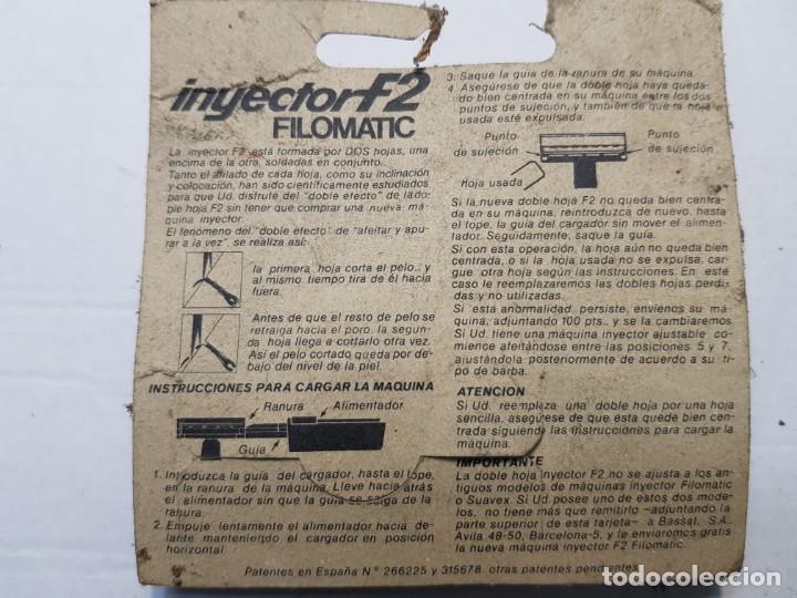 Antigüedades: Recambio de cuchillas de afeitar Inyector F2 de Filomatic en blister escaso - Foto 2 - 189954826