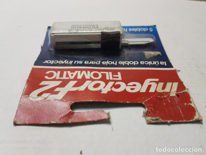 Antigüedades: Recambio de cuchillas de afeitar Inyector F2 de Filomatic en blister escaso - Foto 3 - 189954826