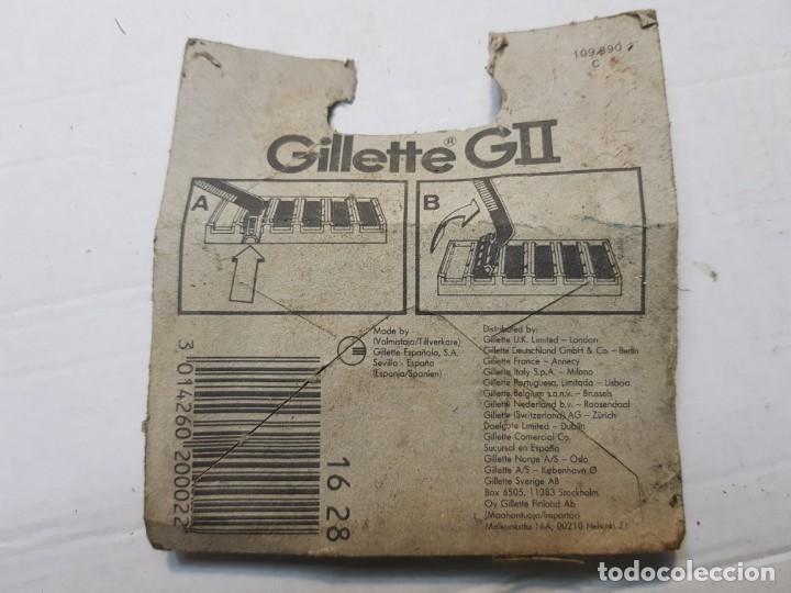 Antigüedades: Recambios de cuchillas de Afeitar Gillette GII en blister original escaso - Foto 2 - 189964438