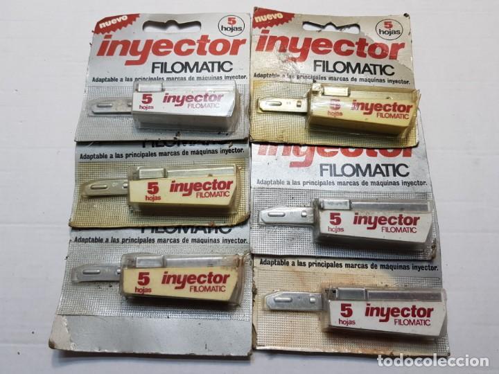 LOTE 6 INYECTORES DE CUCHILLAS FILOMATIC EN BLISTER MUY DIFICIL (Antigüedades - Técnicas - Barbería - Hojas de Afeitar Antiguas)