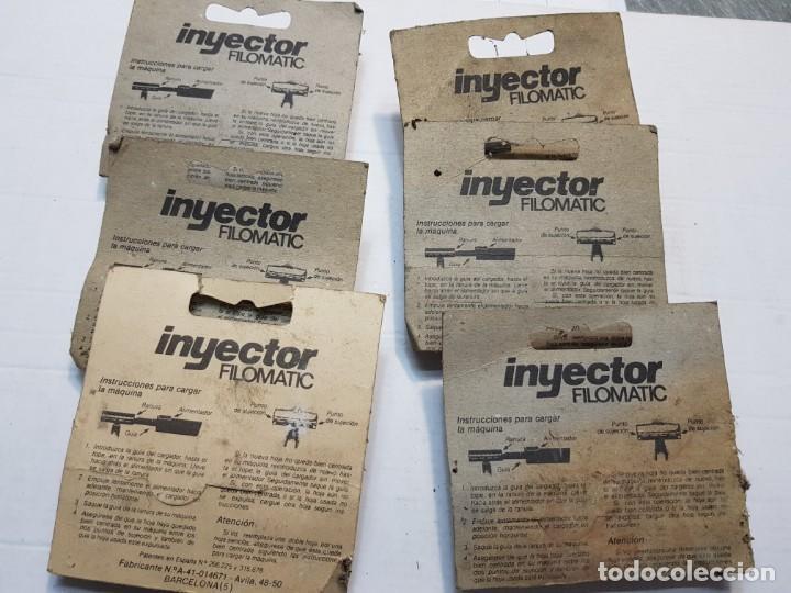 Antigüedades: Lote 6 inyectores de cuchillas Filomatic en blister muy dificil - Foto 2 - 190057102