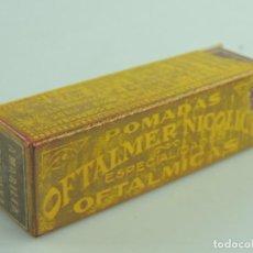 Antigüedades: ANTIGUA CAJA CAJITA DE FARMACIA - POMADAS OFTALMER NICOLICH- PIEZA DE COLECCIÓN. Lote 190227283