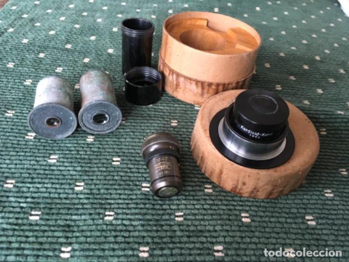 TRES LENTES Y UN CONDENSADOR CARDIOIDE PARA MICROSCOPIO. CARL ZEISS JENA 1942 (Antigüedades - Técnicas - Instrumentos Ópticos - Microscopios Antiguos)