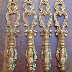 Antigüedades: GRAN LOTE DE 4 ANTIGUOS TIRADORES CON BOCALLAVE DE BRONCE DE ESTILO MODERNISTA, NUNCA USADOS .. Lote 190472810
