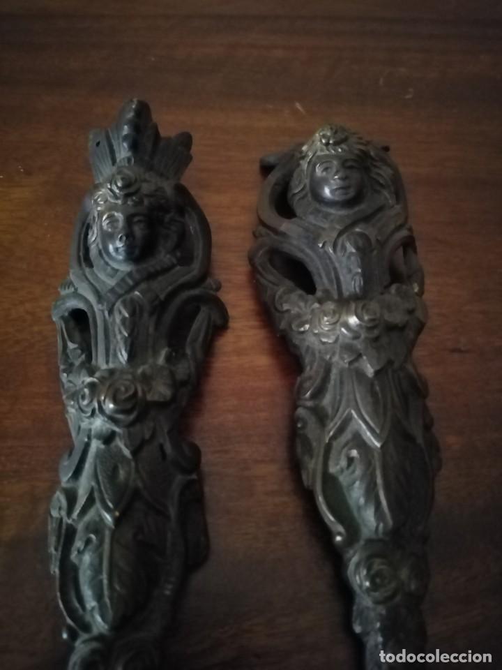 Antigüedades: Pareja de Bronces para muebles o puertas. - Foto 6 - 190494805