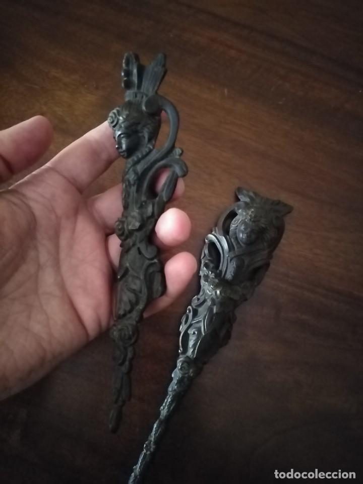Antigüedades: Pareja de Bronces para muebles o puertas. - Foto 8 - 190494805
