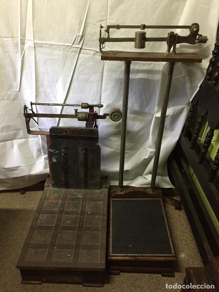 DOS BÁSCULAS (PARA PESOS EN GENERAL; Y PARA PERSONAS) (Antigüedades - Técnicas - Medidas de Peso - Básculas Antiguas)