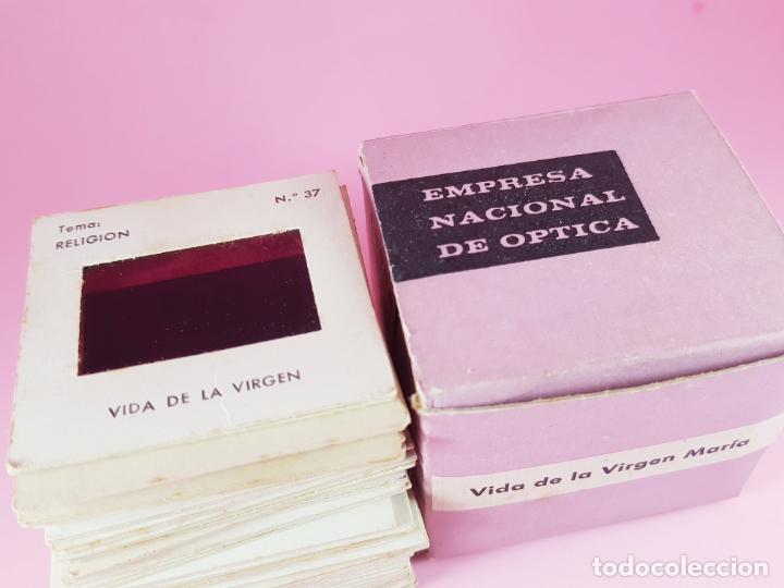 Antigüedades: JUEGO-DIAPOSITIVAS-VIDA DE LA VIRGEN MARÍA-ENOSA-(EMPRESA NACIONAL DE ÓPTICA)-CAJA-BUEN ESTADO - Foto 2 - 190875231