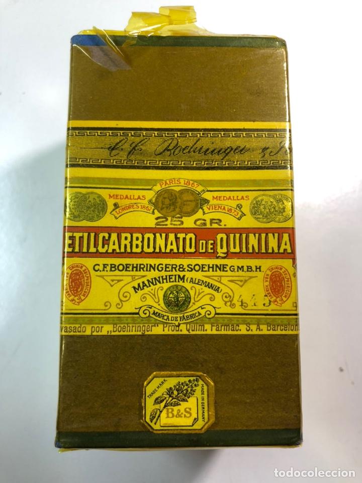 ANTIGUO MEDICAMENTO ETILCARBONATO DE QUININA FABRICADO BOEHRINGER & SOEHNE ALEMANIA-BARCELONA (Antigüedades - Técnicas - Herramientas Profesionales - Medicina)