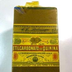 Antigüedades: ANTIGUO MEDICAMENTO ETILCARBONATO DE QUININA FABRICADO BOEHRINGER & SOEHNE ALEMANIA-BARCELONA. Lote 190919012