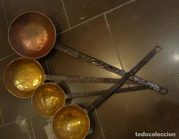 4 CAZOS DE BRONCE Y COBRE (Antigüedades - Técnicas - Cerrajería y Forja - Varios Cerrajería y Forja Antigua)