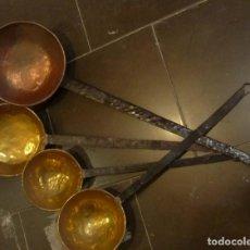 Antigüedades: 4 CAZOS DE BRONCE Y COBRE. Lote 191134715