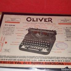 Antigüedades: PUBLICIDAD MAQUINA DE ESCRIBIR OLIVER. Lote 191158376