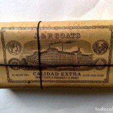 Antigüedades: HILO DE COSER J&P COATS,CALIDAD EXTRA,PAQUETE DE HILO (9 CARRETES) ENVOLTORIO ORIGINAL CON PRECINTO.. Lote 191167692