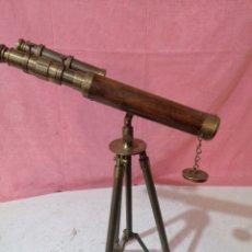 Antigüedades: TELESCOPIO DE METAL Y MADERA. Lote 191191641
