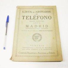 Teléfonos: LISTA ABONADOS AL TELÉFONO. GUÍA TELEFÓNICA. MADRID 1926.. Lote 191256307