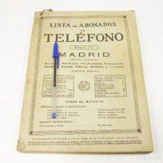 Teléfonos: LISTA ABONADOS AL TELÉFONO. GUÍA TELEFÓNICA. MADRID. MARZO 1931.. Lote 191257177