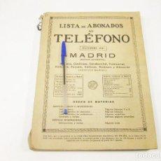 Teléfonos: LISTA ABONADOS AL TELÉFONO. GUÍA TELEFÓNICA. MADRID. DICIEMBRE 1931.. Lote 191258142