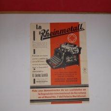 Antigüedades: CARTEL PUBLICIDAD MAQUINA DE ESCRIBIR RHEINMETALL. Lote 191259440