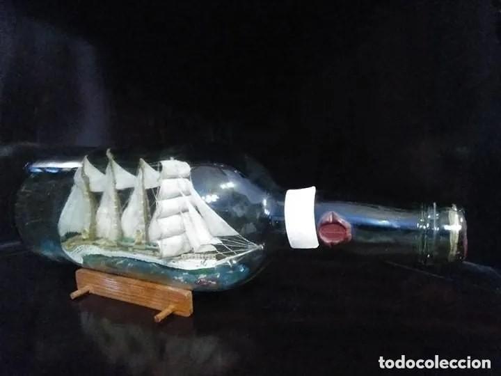 Antigüedades: Barco madera Juan Sebastián Elcano en botella grande. Años 70 - Foto 3 - 191294358