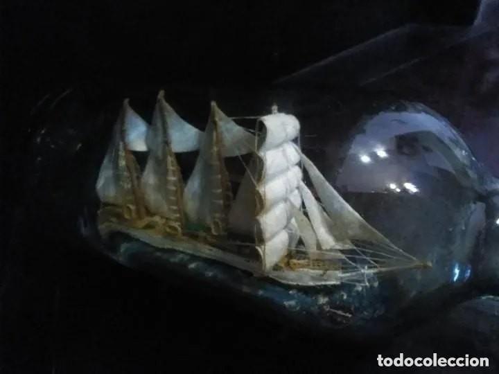 Antigüedades: Barco madera Juan Sebastián Elcano en botella grande. Años 70 - Foto 4 - 191294358