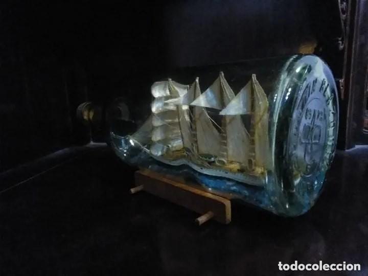 Antigüedades: Barco madera Juan Sebastián Elcano en botella grande. Años 70 - Foto 5 - 191294358