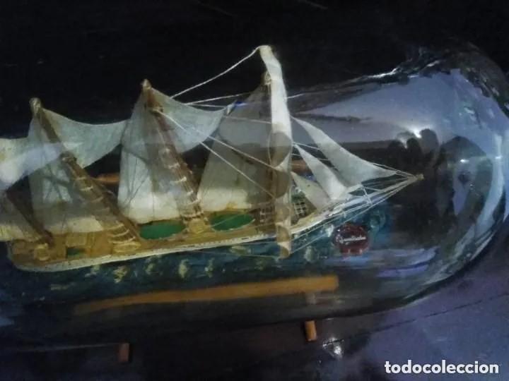 Antigüedades: Barco madera Juan Sebastián Elcano en botella grande. Años 70 - Foto 6 - 191294358