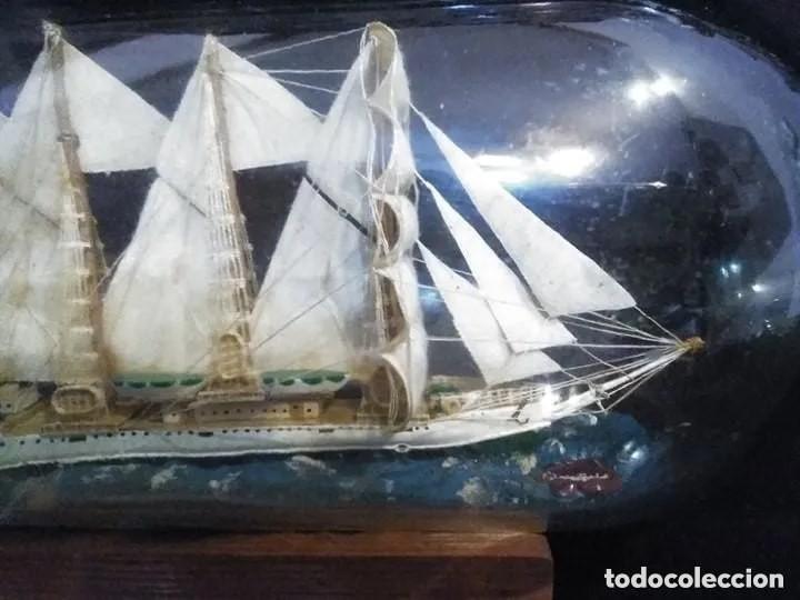Antigüedades: Barco madera Juan Sebastián Elcano en botella grande. Años 70 - Foto 8 - 191294358