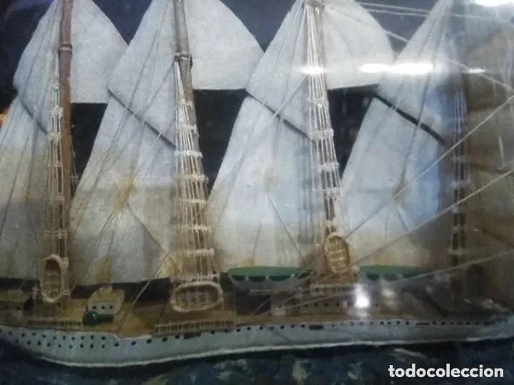 Antigüedades: Barco madera Juan Sebastián Elcano en botella grande. Años 70 - Foto 9 - 191294358
