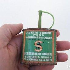 Antigüedades: BOTE ANTIGUO DE ACEITE SINGER VACIO PARA MAQUINAS MERCADO ESPAÑOL. Lote 191302291