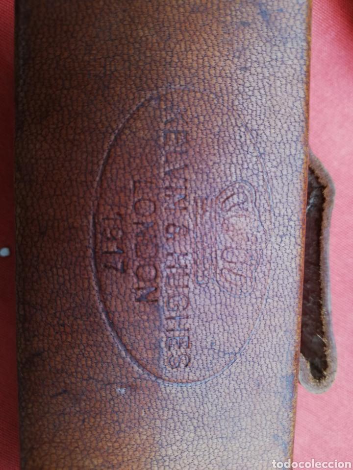Antigüedades: Catalejo rectangular extensible 42 cm ..bronce y piel.. Marca inglesa. Mirar fotos. - Foto 2 - 191516197