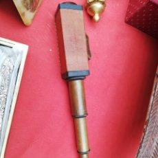 Antigüedades: CATALEJO RECTANGULAR EXTENSIBLE 42 CM ..BRONCE Y PIEL.. MARCA INGLESA. MIRAR FOTOS.. Lote 191516197