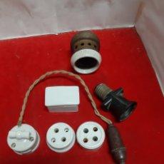 Antigüedades: LOTE DE 7 PIEZAS ANTIGUAS DE ELECTRICIDAD. Lote 191645685