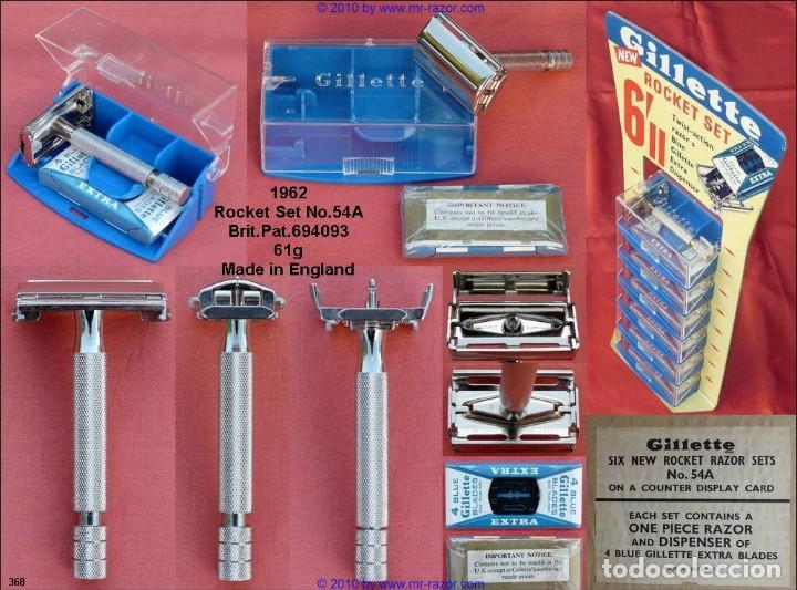 Antigüedades: Maquinilla de afeitar GILLETTE ROCKET set nº 54A o PARAT Brit. Pat. 693094 Safety Razor - Foto 9 - 191647356