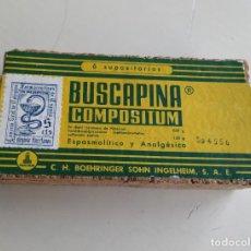 Antigüedades: ANTIGUA CAJA DE CORCHO DE BUSCAPINA COMPOSITUM. VACIA. Lote 191744592