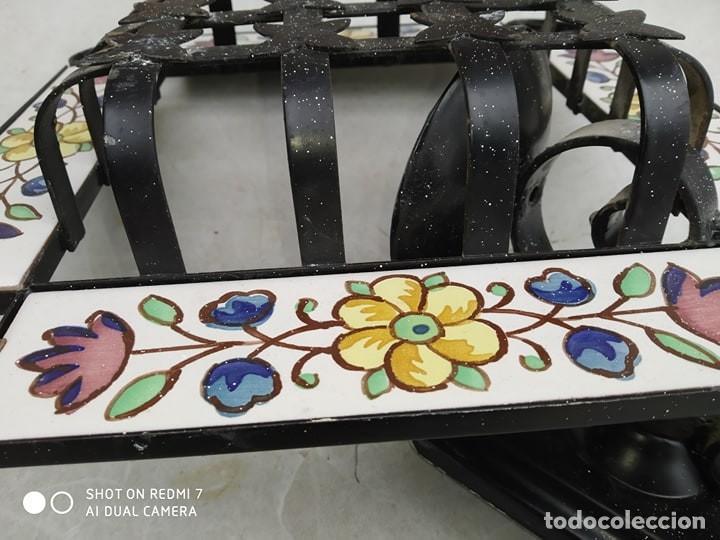 Antigüedades: antigua lampara reja hierro ceramica, sirve para reja pequeña ventana, decoracion,casa rural - Foto 5 - 191982226