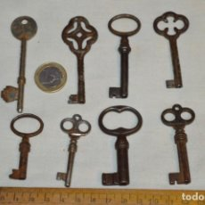 Antigüedades: LOTE 05 -- COMPUESTO POR 8 LLAVES VARIADAS ANTIGUAS - ¡MIRAR FOTOS Y DETALLES!. Lote 192174103