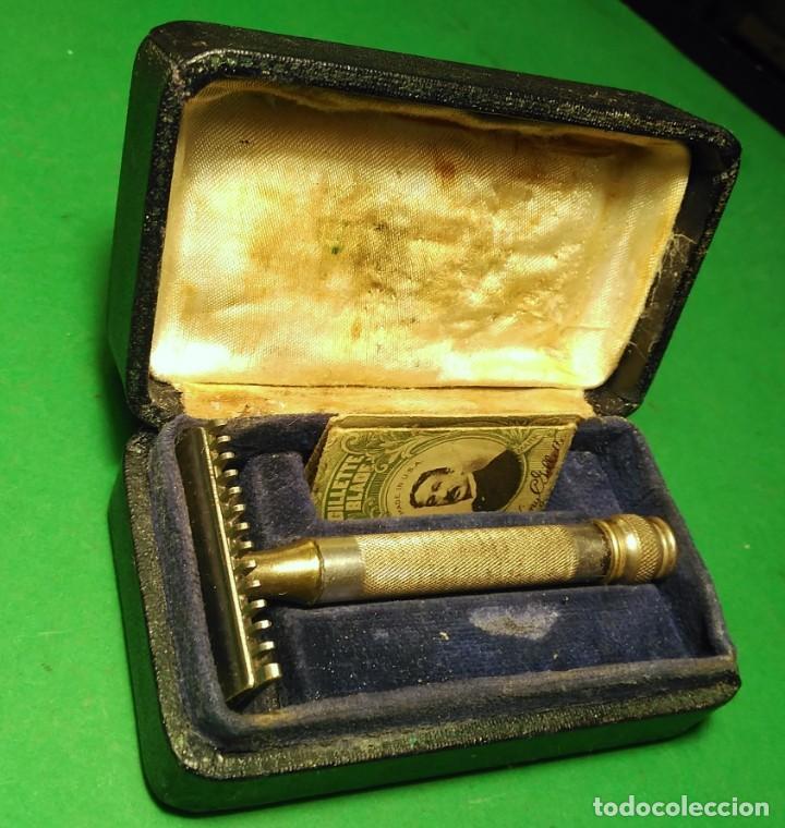 GILLETTE ANTIGUA DECADA 1920 MADE IN U.S.A. PLATEADA CON CAJA. MAQUINILLA AFEITAR. SAFETY RAZOR (Antigüedades - Técnicas - Barbería - Maquinillas Antiguas)