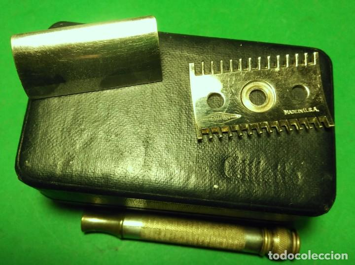 Antigüedades: GILLETTE antigua decada 1920 Made in U.S.A. PLATEADA con Caja. Maquinilla afeitar. Safety razor - Foto 2 - 192259635
