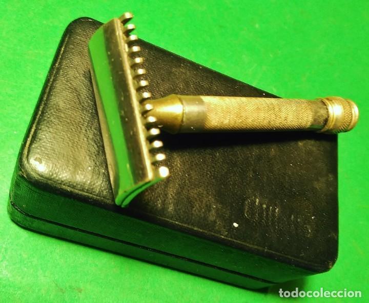 Antigüedades: GILLETTE antigua decada 1920 Made in U.S.A. PLATEADA con Caja. Maquinilla afeitar. Safety razor - Foto 6 - 192259635